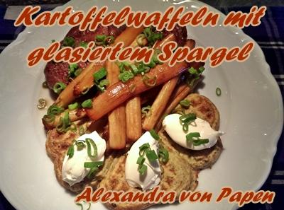 Kartoffelwaffeln mit glasiertem Spargel